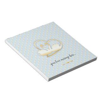 Golden Heart Swans, Gentle Love Notepad