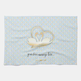 Golden Heart Swans, Gentle Love Tea Towel