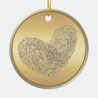 Golden heart text design thumbprint round ceramic decoration