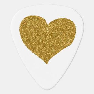 golden heart, white guitar pick