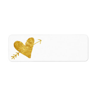 golden heart with arrow return address label