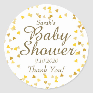 Golden Hearts Baby Shower Favor Classic Round Sticker