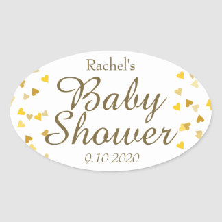 Golden Hearts Baby Shower Favor Oval Sticker