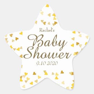 Golden Hearts Baby Shower Favor Star Sticker
