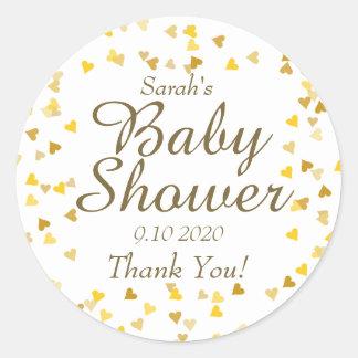 Golden Hearts Baby Shower Favour Classic Round Sticker