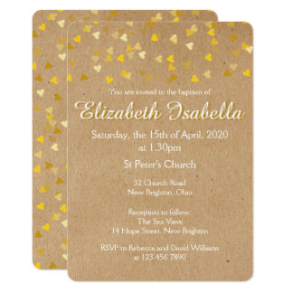 Golden Hearts Baptism Christening Invitation