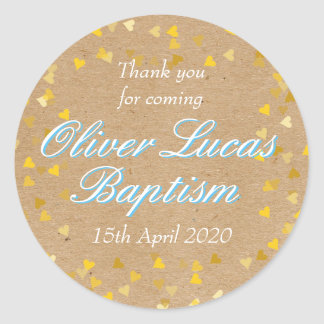 Golden Hearts Blue Baptism Christening Favour Classic Round Sticker