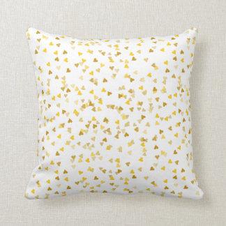 Golden Hearts Confetti Cushion