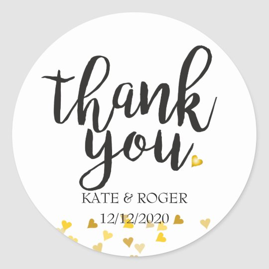 Golden Hearts Confetti Thank You Classic Round Sticker