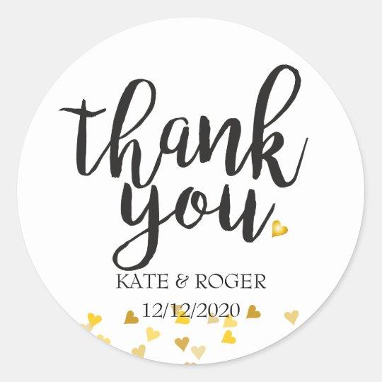 Golden Hearts Confetti Thank You Round Sticker