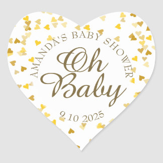Golden Hearts Oh Baby Shower Favor Heart Sticker