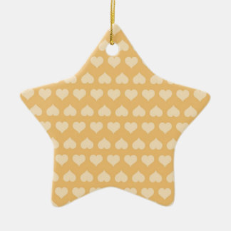 GOLDEN Hearts Pattern Double-Sided Star Ceramic Christmas Ornament