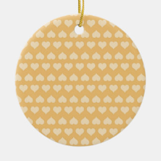 GOLDEN Hearts Pattern Double-Sided Ceramic Round Christmas Ornament