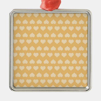 GOLDEN Hearts Pattern Silver-Colored Square Decoration