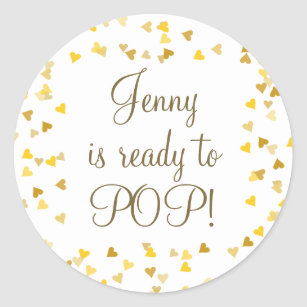 Golden Hearts Shes Ready To Pop Baby Shower Favor Classic Round Sticker