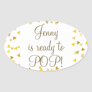 Golden Hearts She's Ready to Pop Baby Shower Favor Oval Sticker