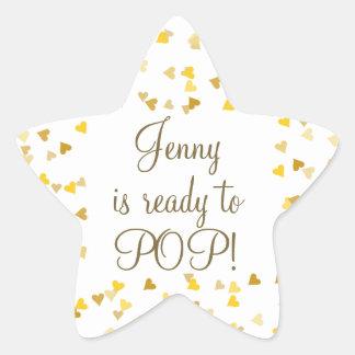 Golden Hearts She's Ready to Pop Baby Shower Favor Star Sticker