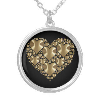 Golden hearts silver plated necklace