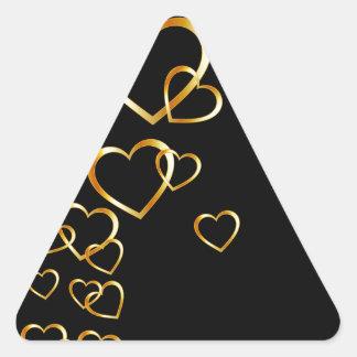 golden hearts triangle sticker
