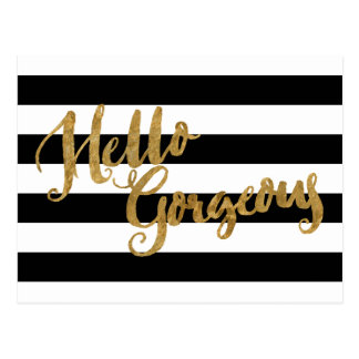Golden Hello Gorgeous Stripes Postcard