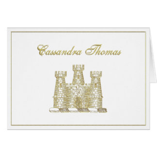 Golden Heraldic Castle Emblem Coat of Arms Frame H Card