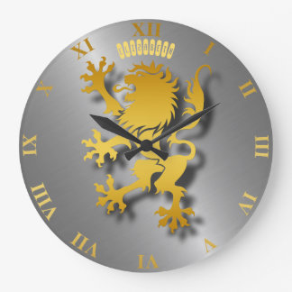 Golden Heraldic Lion  With Shadows Clock