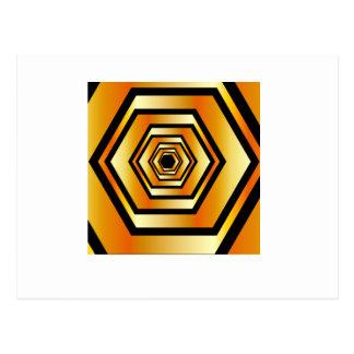 Golden hexagon postcard