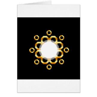 Golden hexagonal design element greeting card