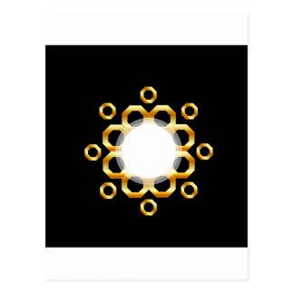Golden hexagonal design element postcard