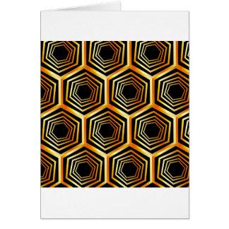 Golden hexagonal optical illusion greeting card