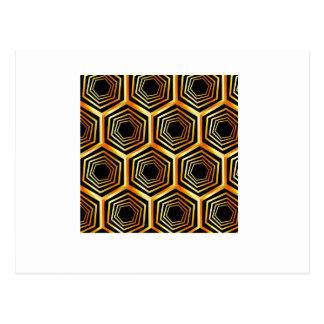 Golden hexagonal optical illusion postcard