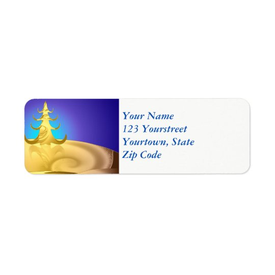 Golden Holiday Return Address Label