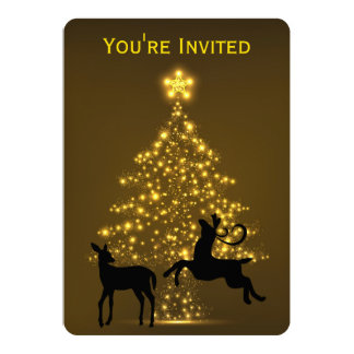Golden Holiday Tree with Silhouette Deer Wedding 13 Cm X 18 Cm Invitation Card