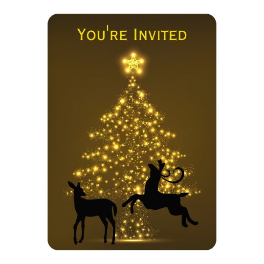 Golden Holiday Tree with Silhouette Deer Wedding Card