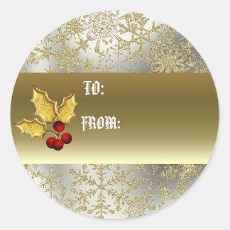 Golden holly gift tag round sticker