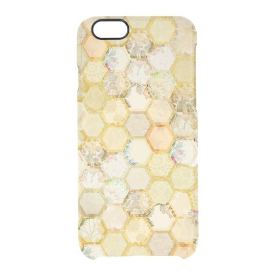 Golden Honeycomb Beehive Floral Glam Clear iPhone 6/6S