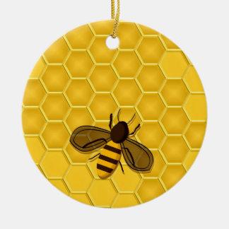 Golden Honeycomb Ornament with Honeybees