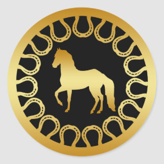 GOLDEN HORSE AND HORSESHOES CLASSIC ROUND STICKER
