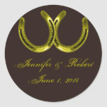 Golden Horseshoes on Brown Envelope Seal Stickers