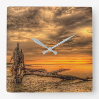 Golden Hour Driftwood Square Wall Clock