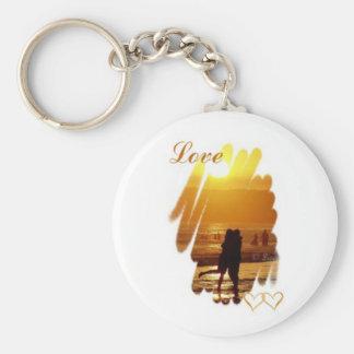 Golden Hug Love Basic Round Button Key Ring