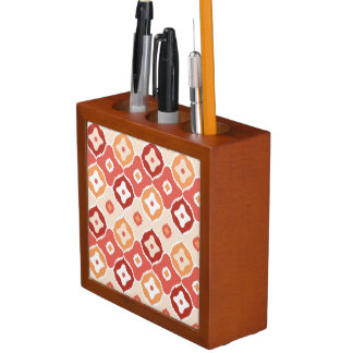 Golden ikat geometric pattern desk organiser