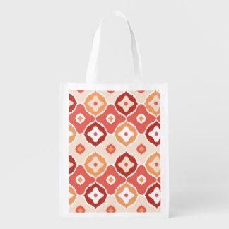 Golden ikat geometric pattern reusable grocery bag