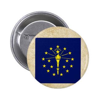 Golden Indiana Flag 6 Cm Round Badge