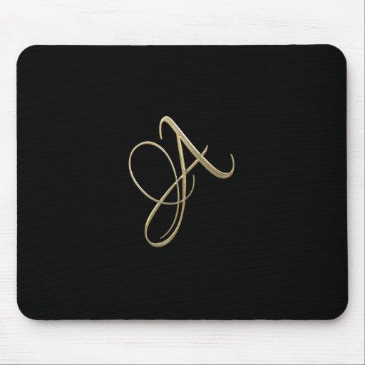 Golden initial A monogram Mousepads