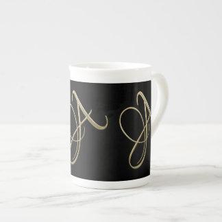 Golden initial A monogram Bone China Mug