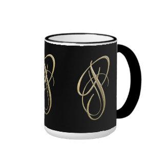Golden initial P monogram Ringer Mug