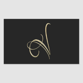 Golden initial V monogram Rectangular Sticker