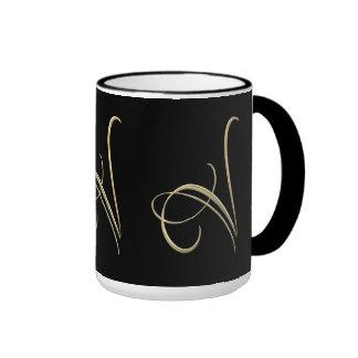 Golden initial V monogram Ringer Mug
