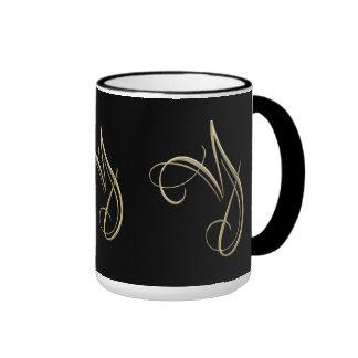 Golden initial Y monogram Ringer Mug
